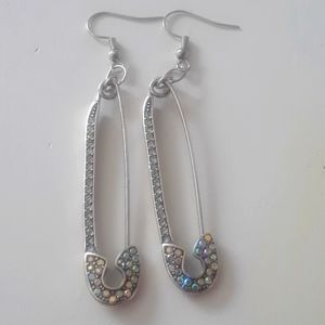 Safety pin with gems earrings